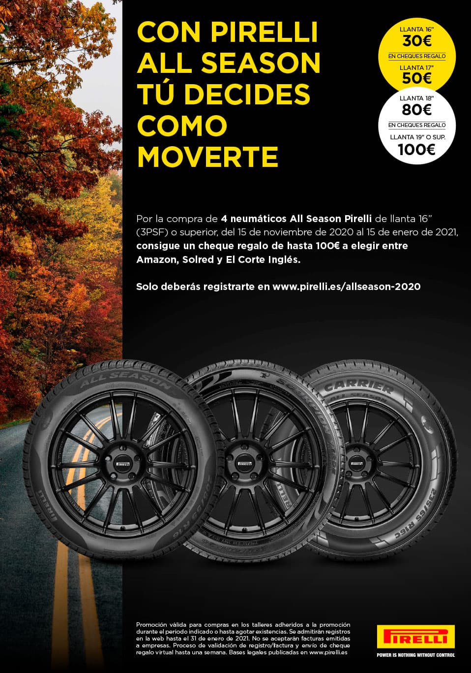 ¡Consigue un cheque regalo de hasta 100€ con Pirelli